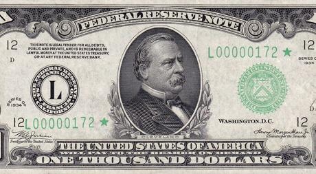 $1000 U.S. Bill