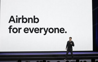 Airbnb co-founder and CEO Brian Chesky speaks during an event Feb. 22, 2018, in San Francisco.